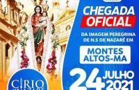 Chegada da Imagem Peregrina de Nossa Senhora de Nazaré vai acontecer em 24 de julho, às 17h