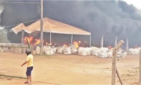 Incêndio atinge fazenda e  queima estoque de cooperativa  de reciclagem no Tocantins