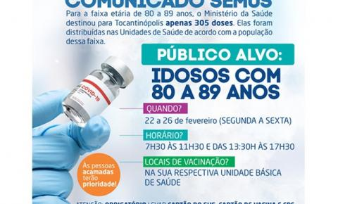 Prefeitura inicia vacinação de idosos de 80 a 89 anos, contra a Covid-19, segunda-feira, 22