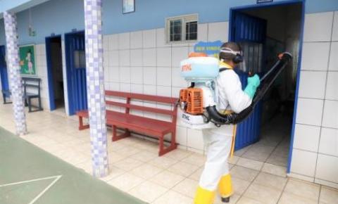 Prefeitura realiza desinfecção periódica nas escolas e creches da Rede Municipal