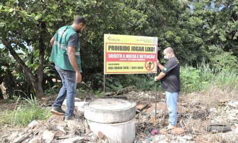Secretaria do Meio Ambiente instala placas de alerta em depósitos de lixo irregulares