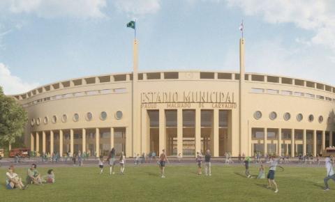 Obras no estádio do Pacaembu tem início com demolição do tobogã